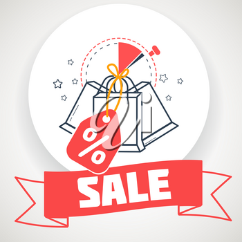 banner on  sale in the form of packages with discounts. Icon in the linear style