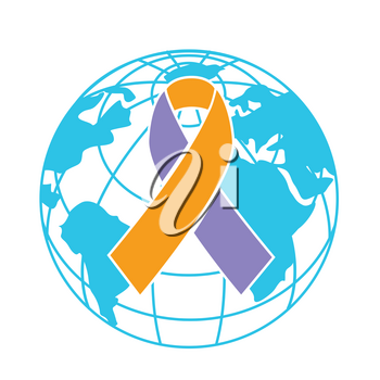 icon on World Psoriasis Day in the form of a ribbon on the background of the earth