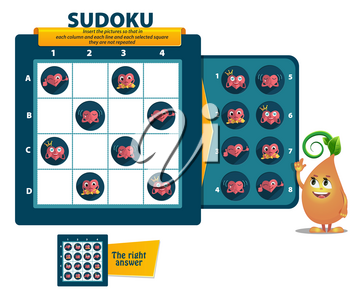 Sudoku game for children and adults. educational game for kids, puzzle. development of logic, iq