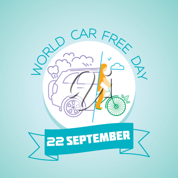 Calendar for each day on september22. Greeting card. Holiday -  World Car free Day. Icon in the linear style
