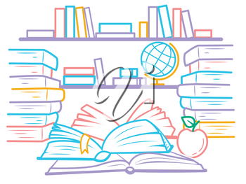 illustration of education in the form of a library with bookshelves and open books.  Icon in the linear style