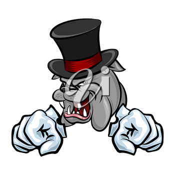 Bulldog in hat and paws in gloves. Cartoon style. Isolated on white.