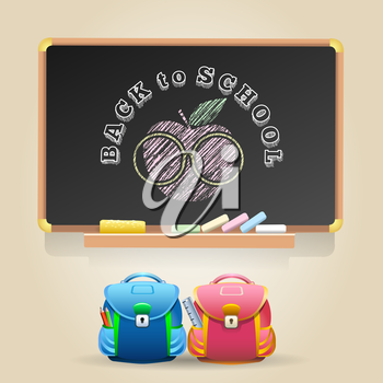 Class Chalkboard with lettering Back to Schoo. Sign of Apple in a glasses and two school bags.
