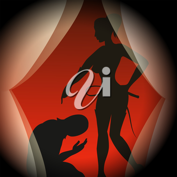 Silhouettes of man in mask and lady with a whip in mistress uniform.