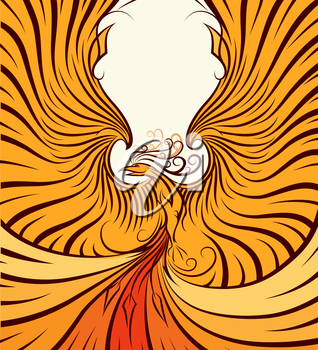 The Phoenix with upraised wings. Poster style. No gardients.