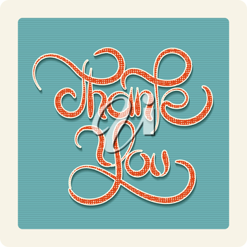 Thank you Hand writting lettering. Illlustration in retro style.