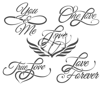 Set of Love Lettering in Tattoo style. Isolated on white.