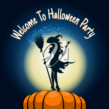 Halloween Party Invitation Poster. Witch with broom in her hands on a huge pumpkin. Vector illustration.