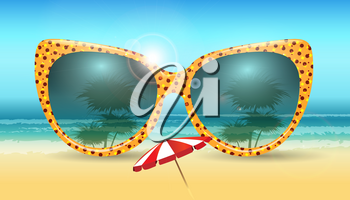 Summer background with sunglasses. Vacation Summer vector illustration.