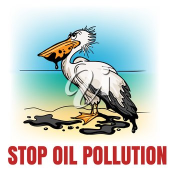 Hand-drawn pelican covered by oil with wording Stop Oil Pollution. Environmental concept. Vector illustration