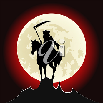 Silhouette of grim Reaper ride a horse on mountain peak against bloody Moon. vector illustration.