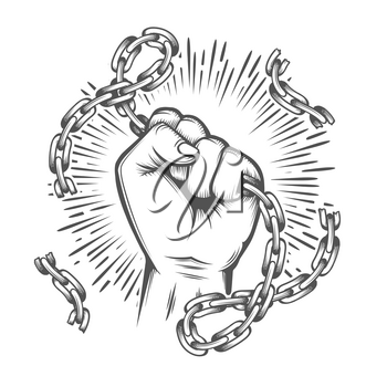 Tattoo of Human Fist with Broken Chain. Feedom concept. Vector illustration.