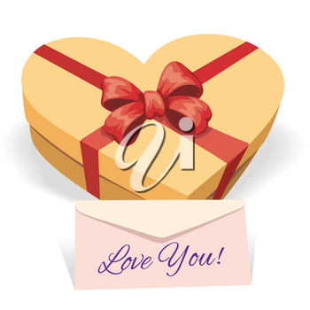 Valentine's day greeting illustration with gift box and love letter
