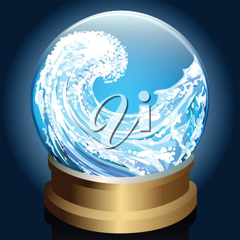 Illustration of wave inside crystal ball drawn in cartoon style