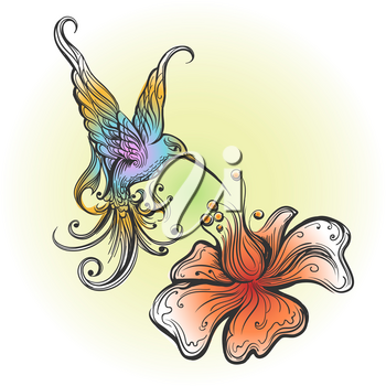 Flying Hummingbird sipping nectar from flower drawn in tattoo style. Vector illustration