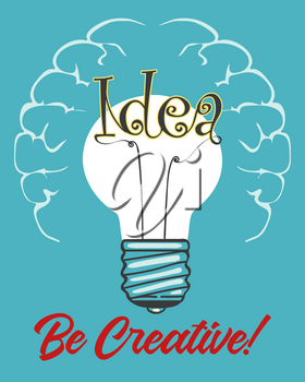 Light Bulb with Idea wording inside. Creative Mind Concept Retro Poster. Vector illustration.