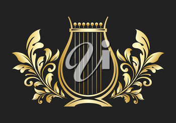 Lyre or cither Golden Emblem. Music logo or icon. Vector illustration.