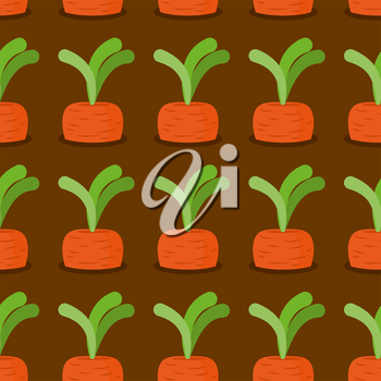 Carrot seamless pattern. Plantation carrots vector background. Garden with vegetables. Retro fabric ornament