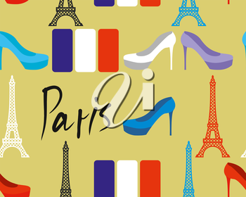 Paris seamless pattern. Flag of France and Eiffel Tower. Women's shoes. Fabric texture