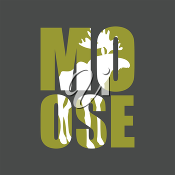 Moose. Wild animal silhouette text on a gray background.