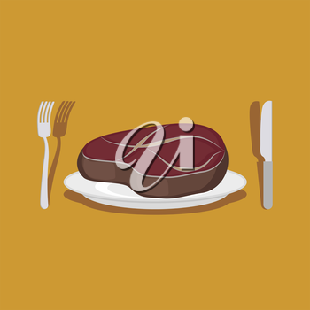 Beef Steak. Cutlery: knife and fork. Vector illustration