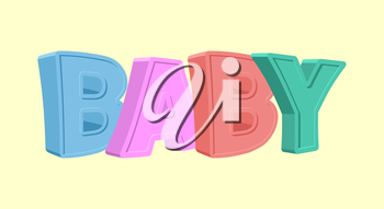 Colorful cartoon BABY text on white background