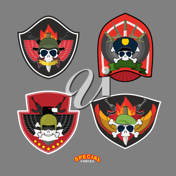 Set military and armed labels logo.  Skull, Eagle and weapons.Vector illustration