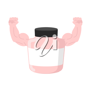 Sports nutrition Bank container bodybuilder Shows big biceps. Vector illustration