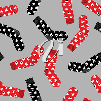 Black and Red socks with skull seamless pattern. Vector background of clothing accessories for Halloween