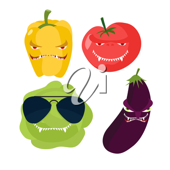 Scary vegetables. Cabbage in glasses, horrible pepper, ferocious tomato. Vector illustration