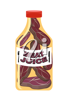Meat juice in a transparent bottle. Drink for men. Funny cartoon vector illustration.