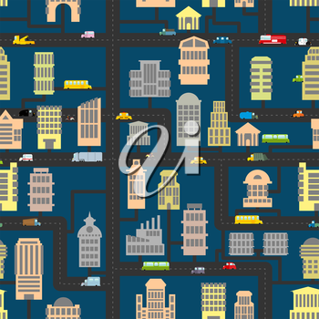 Night city pattern. Skyscrapers and transportation urban seamless background. Infrastructure, homes and cars. Texture of  road, real estate and public and Business building. Cartoon map of city in eve