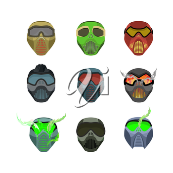 Set helmets and masks for sports. Devilish horrible masks. Scary Helmets for Paintball and motorcycle racing. Vector illustration