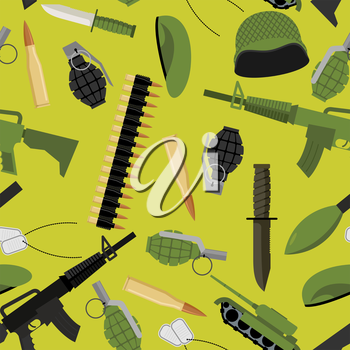 Military seamless pattern. Army background objects. Weapons and ammunition texture. Tank and automatic. Hand grenade and soldiers badge. Military protective helmet and green beret. Army knife and ammu