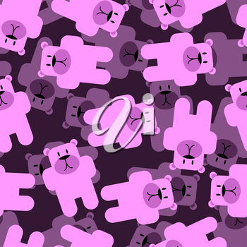 Cute bears seamless pattern. Pink animals 3D background. Funny animals skinned baby tissue.