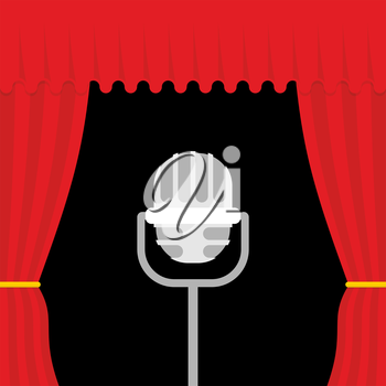 Stage with red curtain and retro microphone. Open theatre curtain. Device for presentations. Accessory lead.