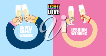 LGBT love. LGBT wedding. Character set for wedding of gays and lesbians. Mens hands to drink champagne. Womens hands and glass of white sparkling wine. Symbol of same-sex wedding