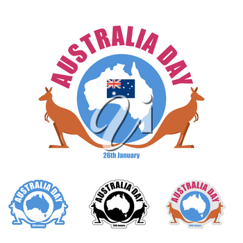Australia day logo for holiday. Kangaroo and map of Australia. Emblem for traditional holiday of country. Options for your logo design.