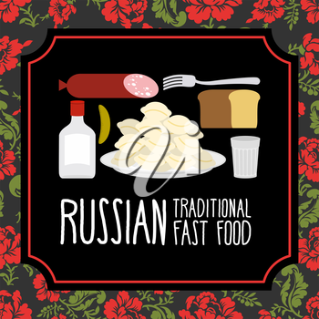 Russian traditional fast food. Vodka and sausage. Russian Folk floral ornament.