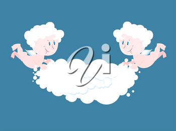 Angel and cloud. Two little Angels keep cloud. Place for your text. Celestial cute kids in clouds. Little Saints Cherub