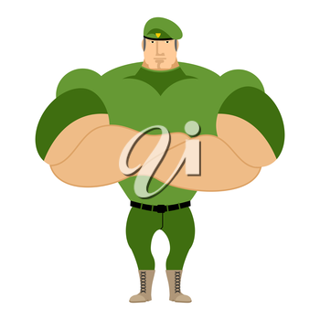 Marine in green beret. Special forces of strong man. Big paratrooper on guard homeland. Military defender in soldiers uniform. Athletic soldiers with big muscles.