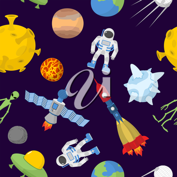 Space cartoon seamless pattern. Vector background. Astronaut and rocket