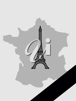 Map of France with mourning Ribbon. Illustration mourned in act of terrorism. French landmark  Eiffel Tower.