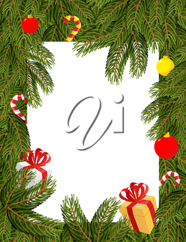 Christmas frame. Pine branches decorated with balloons and gifts. Sweets and branches of trees. White background for your text. Background for Christmas and new year greetings. Natural ornament for  h