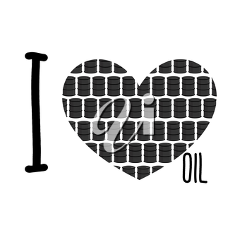 I love oil. Symbol heart of barrels of oil. Vector illustration.
