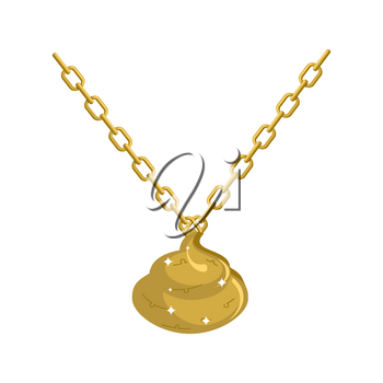 Gold shit necklace decoration on chain. Turd expensive jewelry. Accessory precious yellow metal. Fashionable Luxury treasure