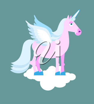 Purple Unicorn with blue mane on cloud. Mythical beast with wings. Fabulous beast with horn in his forehead. Fantastic animal with blue hoofs