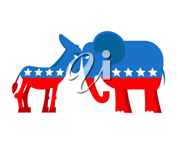 Donkey and elephant symbols of political parties in America. USA elections. Democrats against Republicans. Opposition to American policy. democratic donkey and republican elephant. USA symbol of polit