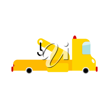 Tow truck isolated. Transport on white background. Car evacuate in cartoon style