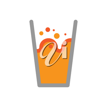 Orange juice in glass isolated. Splashes and drops